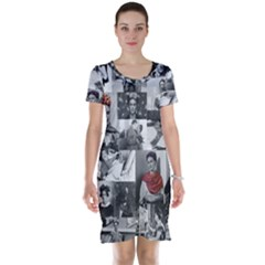 Frida Kahlo Pattern Short Sleeve Nightdress
