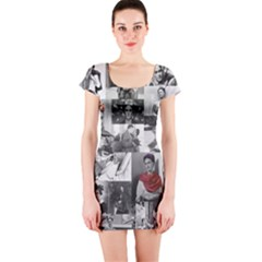 Frida Kahlo Pattern Short Sleeve Bodycon Dress