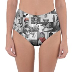 Frida Kahlo Pattern Reversible High Waist Bikini Bottoms