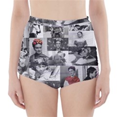 Frida Kahlo Pattern High Waisted Bikini Bottoms