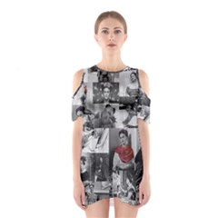Frida Kahlo Pattern Shoulder Cutout One Piece