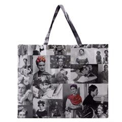 Frida Kahlo Pattern Zipper Large Tote Bag