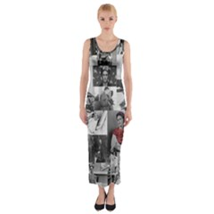 Frida Kahlo Pattern Fitted Maxi Dress
