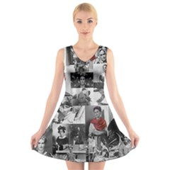 Frida Kahlo Pattern V Neck Sleeveless Dress