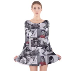 Frida Kahlo Pattern Long Sleeve Velvet Skater Dress