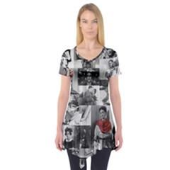 Frida Kahlo Pattern Short Sleeve Tunic