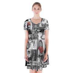 Frida Kahlo Pattern Short Sleeve V Neck Flare Dress