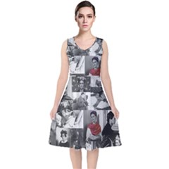 Frida Kahlo Pattern V Neck Midi Sleeveless Dress