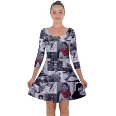 Frida Kahlo Pattern Quarter Sleeve Skater Dress