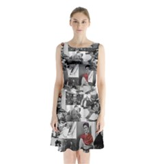 Frida Kahlo Pattern Sleeveless Waist Tie Chiffon Dress
