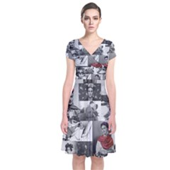 Frida Kahlo Pattern Short Sleeve Front Wrap Dress