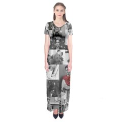 Frida Kahlo Pattern Short Sleeve Maxi Dress
