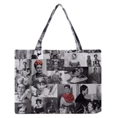 Frida Kahlo Pattern Zipper Medium Tote Bag