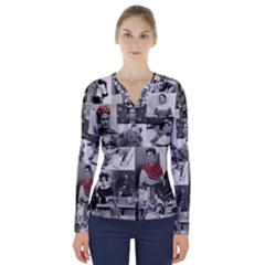 Frida Kahlo Pattern V Neck Long Sleeve Top