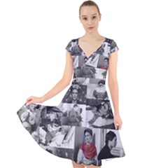 Frida Kahlo Pattern Cap Sleeve Front Wrap Midi Dress