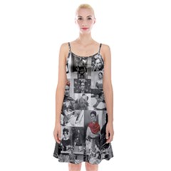 Frida Kahlo Pattern Spaghetti Strap Velvet Dress