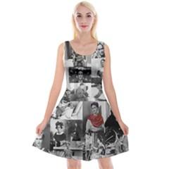 Frida Kahlo Pattern Reversible Velvet Sleeveless Dress
