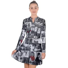 Frida Kahlo Pattern Long Sleeve Panel Dress