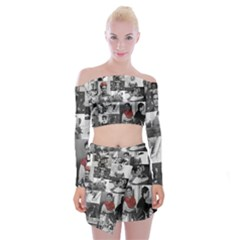 Frida Kahlo Pattern Off Shoulder Top With Mini Skirt Set