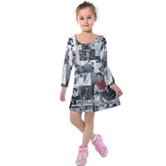 Frida Kahlo Pattern Kids  Long Sleeve Velvet Dress