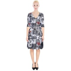 Frida Kahlo Pattern Wrap Up Cocktail Dress