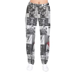 Frida Kahlo Pattern Velvet Drawstring Pants