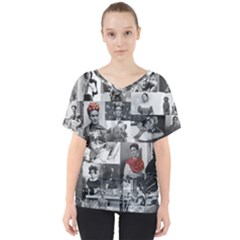 Frida Kahlo Pattern V Neck Dolman Drape Top