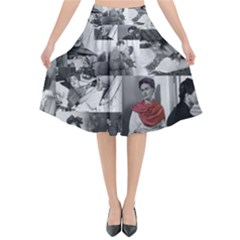 Frida Kahlo Pattern Flared Midi Skirt