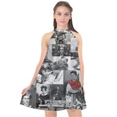 Frida Kahlo Pattern Halter Neckline Chiffon Dress