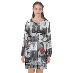 Frida Kahlo Pattern Long Sleeve Chiffon Shift Dress