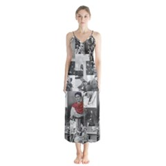 Frida Kahlo Pattern Button Up Chiffon Maxi Dress