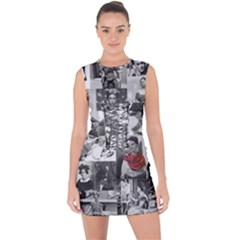 Frida Kahlo Pattern Lace Up Front Bodycon Dress