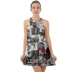 Frida Kahlo Pattern Halter Tie Back Chiffon Dress