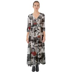 Frida Kahlo Pattern Button Up Boho Maxi Dress