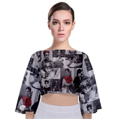 Frida Kahlo Pattern Tie Back Butterfly Sleeve Chiffon Top
