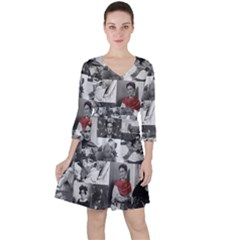 Frida Kahlo Pattern Ruffle Dress