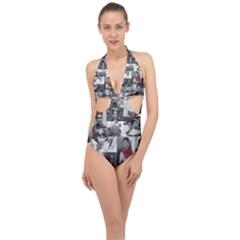 Frida Kahlo Pattern Halter Front Plunge Swimsuit