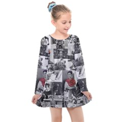 Frida Kahlo Pattern Kids  Long Sleeve Dress