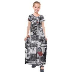 Frida Kahlo Pattern Kids  Short Sleeve Maxi Dress