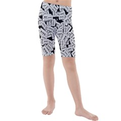 Audio Tape Pattern Kids  Mid Length Swim Shorts