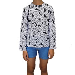 Audio Tape Pattern Kids  Long Sleeve Swimwear