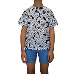 Audio Tape Pattern Kids  Short Sleeve Swimwear