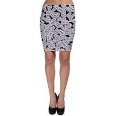 Audio Tape Pattern Bodycon Skirt