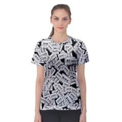 Audio Tape Pattern Women s Sport Mesh Tee