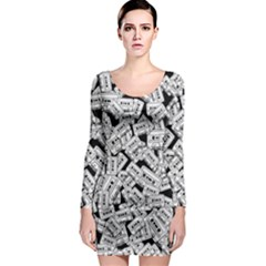 Audio Tape Pattern Long Sleeve Bodycon Dress