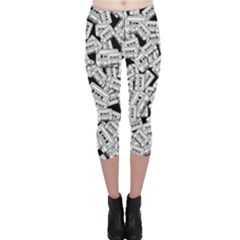 Audio Tape Pattern Capri Leggings