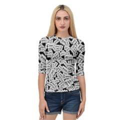 Audio Tape Pattern Quarter Sleeve Raglan Tee