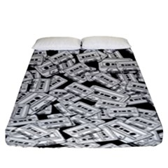 Audio Tape Pattern Fitted Sheet (king Size)