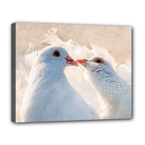 Doves In Love Canvas 14  X 11