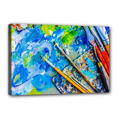 Artist Palette And Brushes Canvas 18  X 12  by FunnyCow